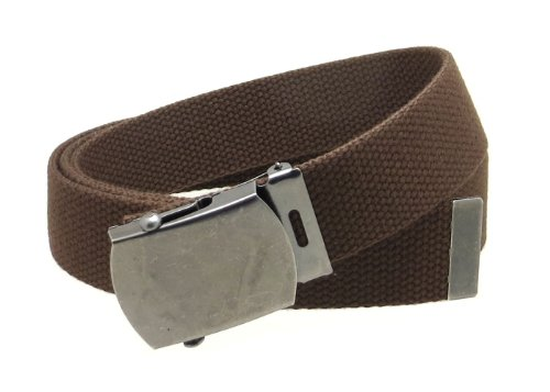 "Canvas Web Belt Military Style Antique Silver Buckle/Tip Solid Color 50"" Long (Brown)"