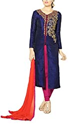 Call Moda Women's Cotton Unstitched Dress Material (YC-0002_Blue_Free Size)