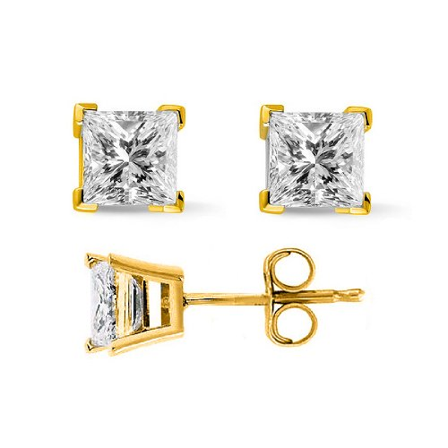 0.33 Ct. Princess Cut Diamond Stud Earrings By Mcqueen Jewelry (E, Si2) 14K Yellow Gold, Push Back