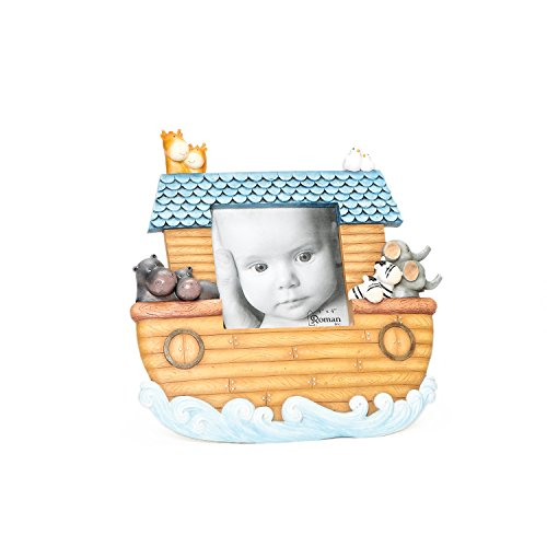 """Roman Exclusive 9.5-Inch """"Noah'S Ark"""" Photo Frame Intricately Detailed With Animals, Holds 4 By 4-Inch Photo"""