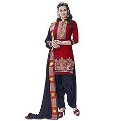 Bhelpuri Women Maroon Cotton Dress Material