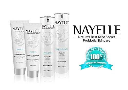 NAYELLE's BEST Probiotic Rejuvenating Skincare Regime. CLEANSE, HYDRATE Day Cream, REJUVENATE Night Cream/ FREE 40 g PURIFY Face Mask. TRUE RESULTS! Organic & Natural, Cruelty FREE. All Skin Types.