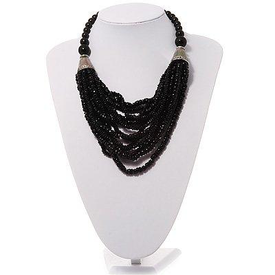 Chunky Multistrand Black Resin Necklace - 40cm Length