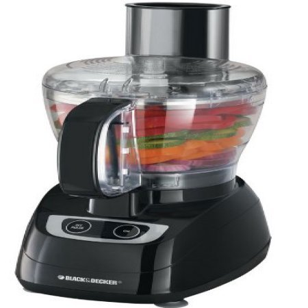Black & Decker 8-Cup Black Food Processor with Stainless Steel Slicing and Shredding Disc