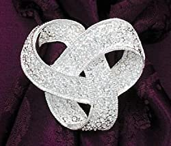 Silver Plate Love Knot Fashion Pin, Clear Swarovski Crystals, 1-1/2 inch