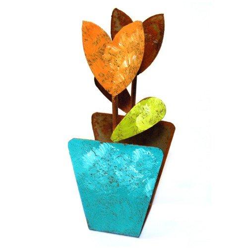 "Fair Trade Serviettenhalter ""Blumentopf"" – 16 x 8 cm – Serviettenständer fairtrade (orangene Blüte) günstig bestellen"