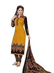 RK Fashion Womens Chiffon Un-Stitched Salwar Suit Dupatta Material ( Rajguru-Rimzim-9038-Yellow-Free Size )