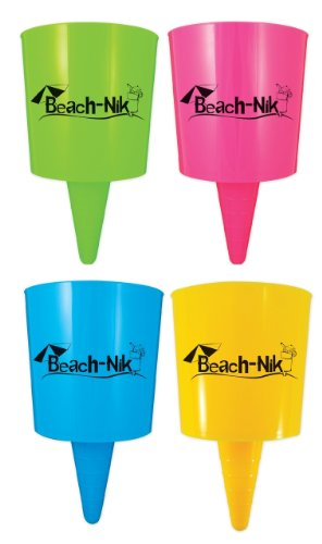 Beach-Nik® Beach Cup Holder (Tropical Mix (set of 4)) (Drink Mix Holder compare prices)