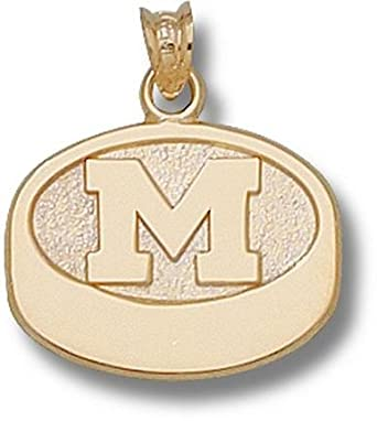 Michigan Wolverines M Hockey Puck 9 16 Pendant - 14KT Gold Jewelry by Logo Art
