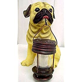 Pug Outdoor Statue Solar Light Garden Dog