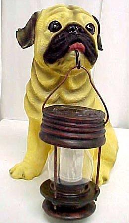 Cute Pug Outdoor Statue Solar Light Garden Dog
