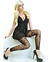 Angelina Floral-Pattern Fishnet Footless Pantyhose with Lace #9409