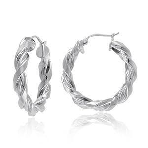 Sterling Silver Twist Hoop Earrings (1.0