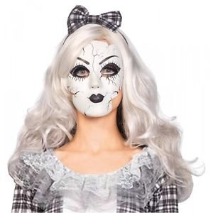 [Porcelain Doll Mask for Broken Doll Costume Creepy Halloween Fancy Dress] (Donald Duck Costume Makeup)
