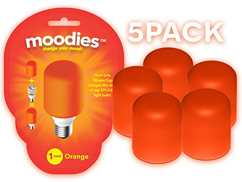 Moodies 5 Pack of Orange Heat-safe Silicone Light Bulb Covers for Decorating