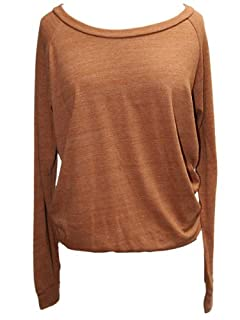 YogaColors Black Heart Tri-Blend Light Weight Raglan Pullover BR394 (Small, Eco Rust)