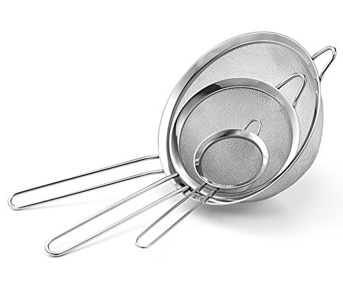 """Set Of 3 - All Purpose Stainless Steel Fine Mesh Strainer Colander Sieve With Handle, 3¾"""", 5 ¼"""", 7"""""""