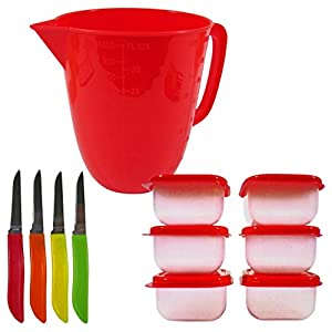 Bright Colored Kitchen Set- 3.5 Cup Measuring Cup, 6 Mini Storage Containers and 4 Paring Knives