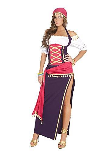 [Sexy Women's Exotic Gypsy Maiden Adult Roleplay Costume, Medium, Purple/White] (Revealing Costumes)
