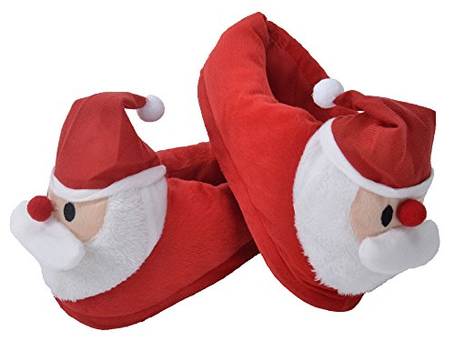 Simplicity Girls and Boys Christmas Santa Claus Slippers w/ Non Slip Soles