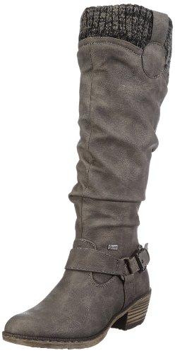 Rieker 93756 - Stivali da Cowboy Donna, Grigio (cenere/black-grey / 42), 37 EU