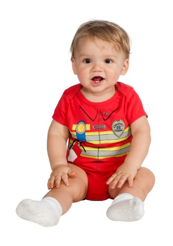 Rubie'S Costume My First Halloween Firefighter Onesie Costume, Red, 6-12 Months front-480046