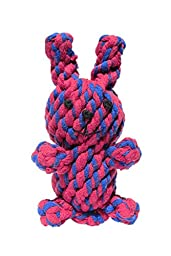 Rabbit Dog Toys, Cotton Dental Teaser Rope Chew Teeth Cleaning Toy for small and medium dogs