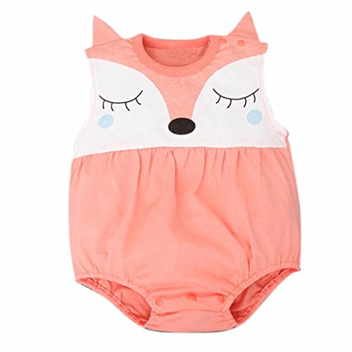 DaySeventh Newborn Baby Girls Boys Teddy Leotard Jumpsuits Romper Bodysuit (6M, Orange)