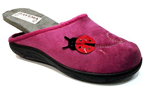 DAVEMA pantofole ciabatte invernali da donna art. 5034 fuxia con plantare estraibile (38)