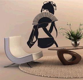 Casa decorazione Dama cinese con un fan art wall, adesivi in vinile, H = 50cm, W = 50cm