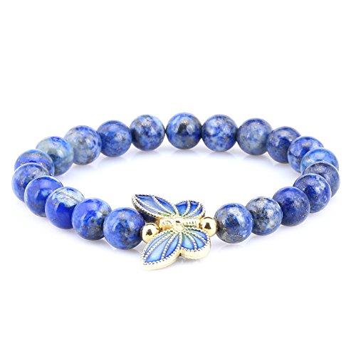 8mm Lapis Lazuli Sterling silver Cloisonne Enamel Butterfly Bracelet