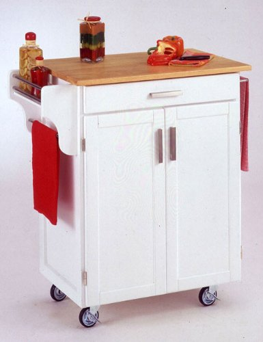 Cheap Home Styles 9001-XXXX Kitchen Cart with Wood Top Finish: White (9001-0021)