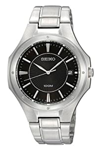 Seiko Men's Quartz Watch with Black Dial Analogue Display and Silver Stainless Steel Bracelet SGEF61