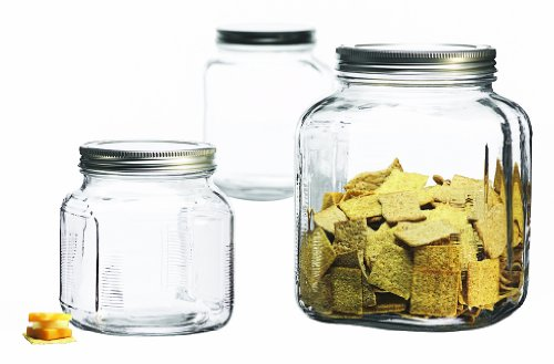 Anchor Hocking 3-Piece Glass Cracker Jar Canister Set (Glass Storage Jars With Lids compare prices)