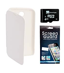 KolorEdge Flipcover + Screen Protector + 4 GB Strontium Memory Card for karbonn A15 - White