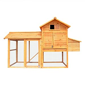 PETRUM® Chicken Wood Coop Next Box Poultry Hen House Feeder Rabbit Hutch