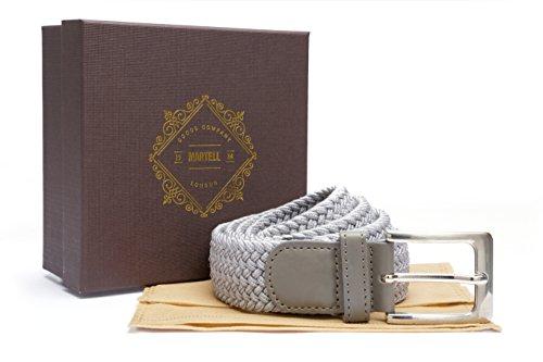 Martell Intl.-Cintura da uomo in tessuto elasticizzato, parte della collezione 'Premium' (include Borsa protettiva di cintura e presentazione regalo scatola), Uomo, grigio