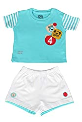 WOWMOM BABY KNIT SET BOYS BADGES 4 FRONT OPEN S/S WITH SHORTS_AQUA