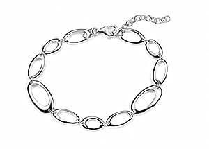 Element Sterling Silver, Ladies', B3453, Open Oval Link Bracelet, Length 18cm plus 3cm Extender