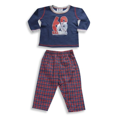 Mis Tee V-Us - Baby Boys Long Sleeve Pant Set, Navy, Red 19169-24Months front-263918