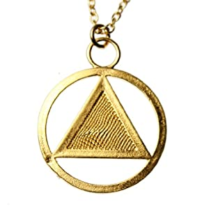 AA Symbol Gold-dipped Pendant Necklace on 18