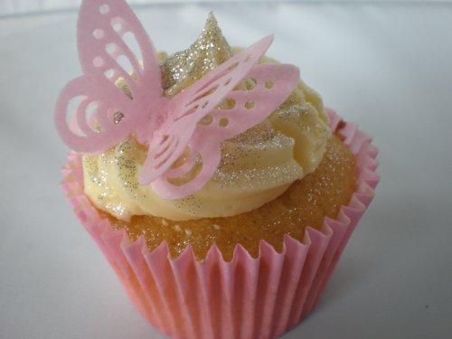 Decorazione 3D per torta, farfalle, in carta di riso (edibile), pretagliato, Rosa, 24 pezzi