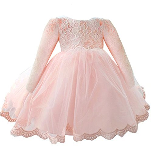 NNJXD Girls' Tulle Flower Princess Wedding Long Sleeve Dress For Toddler and Baby Girl Size 3-6 Months Pure Pink