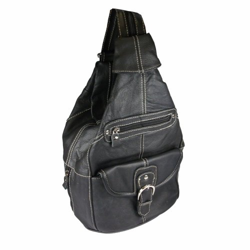 Convertible Back Pack Purse, Mid Size Tear Drop Shoulder Bag, Backpack, Sling Bag. Genuine Leather (Black)