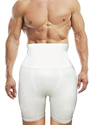 AARPS Seamless Slimming Tummy & Thigh Control Men's Shapewear (MENTHIGHAARPSL_White_Large)