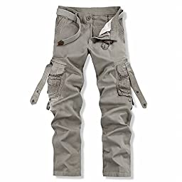 Men\'s Cotton Army Hiking Cargo Pants Casual Trousers with Pockets(28,Gray)