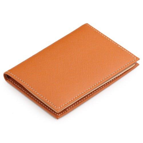 日本製 本革 ベラつき二つ折りパスケース プリズム(角シボ型押し牛革) オレンジ