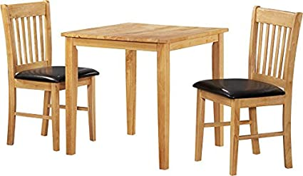 Kendall Traditional Rubberwood Dining Table 2 Chairs Upholstered in Black Pu Leather