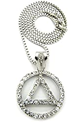 "Stone Studded Alcoholics Anonymous Sobriety Pendant w/ 2.5mm 24"" Box Chain Necklace in Silver-Tone"