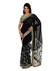 Designersareez Women Faux Georgette Embroidered Black / White Saree With Unstitched Blouse(1307)